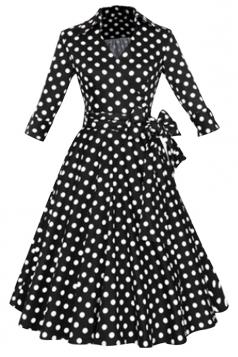 Womens 1950s Vintage Small Lapel Bowknot Tunic Skater Dress White