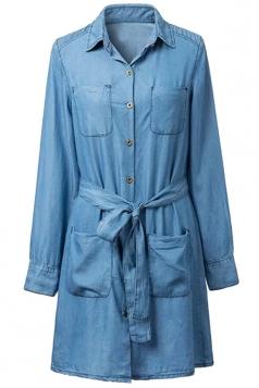 Womens Sash Long Sleeve Pockets Denim Shirt Dress Blue