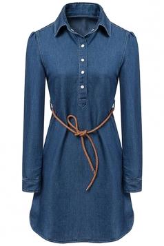 Womens Tunic Button Long Sleeve Denim Shirt Dress Blue