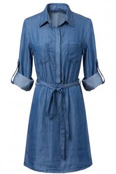 Womens Stylish Turndown Collar Denim Shirt Dress Blue