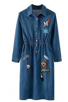 Womens Tunic Pockets Applique Emboidery Denim Shirt Dress Blue