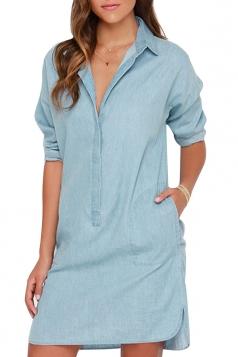 Womens Retro Plain Side Slit Long Sleeve Denim Shirt Dress Blue