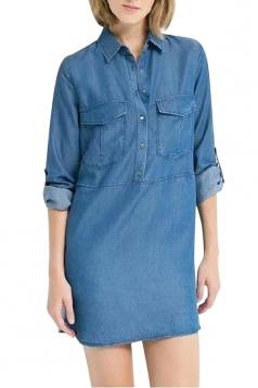 Womens Turndown Neck Patchwork Chock Side Slit Denim Shirt Dress Blue