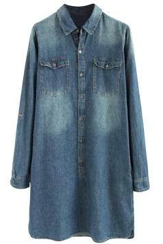 Womens Stylish Simple Pockets Long Sleeve Denim Shirt Dress Blue