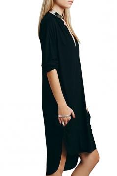 Womens Plain Deep V Neck Side Slit Shirt Dress Black