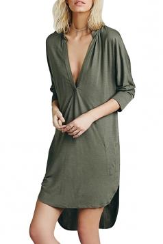 Womens Plain Deep V Neck Side Slit Shirt Dress Green
