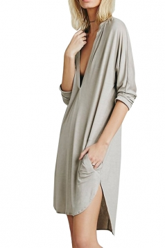 Womens Plain Deep V Neck Side Slit Shirt Dress Gray
