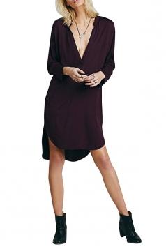 Womens Plain Deep V Neck Side Slit Shirt Dress Ruby