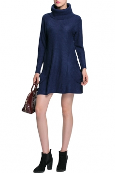 Womens Turtle Neck Long Sleeve A-line Sweater Dress Navy Blue