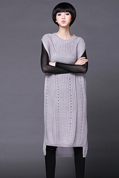 Womens Plain Sleeveless Pullover Knitted Sweater Dress Gray