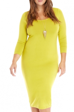 Womens Plain Sexy Bodycon Knee Length Dress Yellow