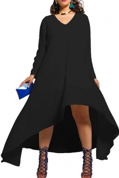 Womens Plain Sexy V Neck Irregular Long Sleeve Cocktail Dress Black