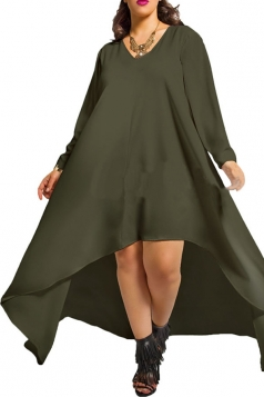 Womens Plain Sexy V Neck Irregular Long Sleeve Cocktail Dress Green