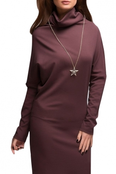 Womens Plain Turtleneck Long Sleeve Shift Dress Ruby