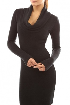 Womens Plain Cowl Neck Long Sleeve Knee Length Dress Black
