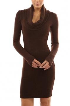 Womens Plain Cowl Neck Long Sleeve Knee Length Dress Brown