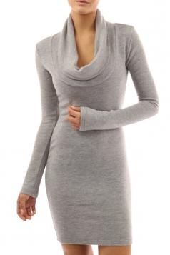 Womens Plain Cowl Neck Long Sleeve Knee Length Dress Gray