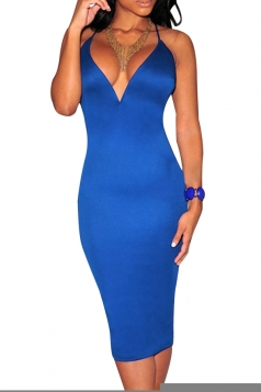 Womens Sexy Plunging Neckline Back Lace Up Bodycon Dress Sapphire Blue