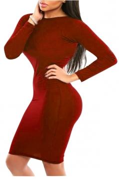 Womens Sexy Long Sleeve Bodycon Midi Dress Ruby