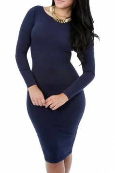 Womens Long Sleeve Bodycon Midi Dress Pure Blue