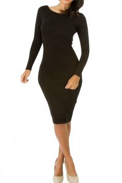 Womens Long Sleeve Bodycon Midi Dress Pure Black