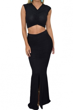 Womens V Neck Sleeveless Crop Top Slit Draped Maxi Skirt Suit Black