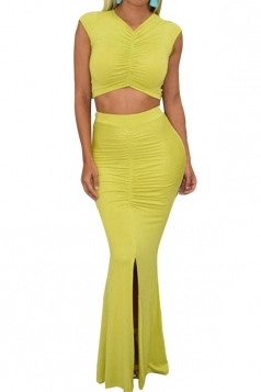 Womens V Neck Sleeveless Crop Top Slit Draped Maxi Skirt Suit Yellow