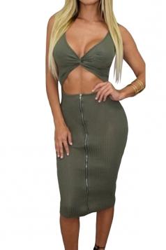 Womens Open Bust Hollow Waist Knee Length Skirt Suit Green