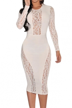 Womens Crew Neck Lace Patchwork See Through Midi Dress White