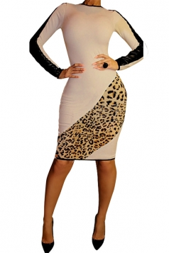 Womens Crewneck Leopard Patchwork Long Sleeve Knee Length Dress Khaki