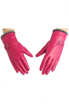 Womens Winter Warm Short Plush Trim Leather Gloves Rose Red