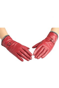 Womens Winter Warm Short Plush Trim Leather Gloves Ruby
