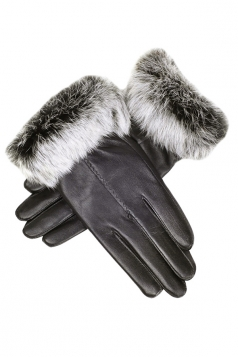 Womens Cony Hair Lined Warm Leather Gloves Black