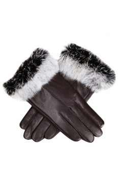 Womens Cony Hair Lined Warm Leather Gloves Brown