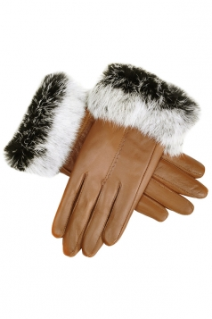 Womens Cony Hair Lined Warm Leather Gloves Chestnut