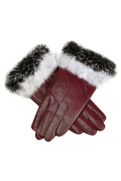 Womens Cony Hair Lined Warm Leather Gloves Ruby