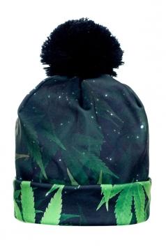 Womens Marijuana Printed Pom Beanie Green