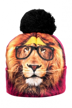 Womens Hipster Lion Printed Pom Beanie Yellow