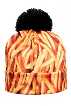 Womens French Fries Printed Pom Beanie Orange