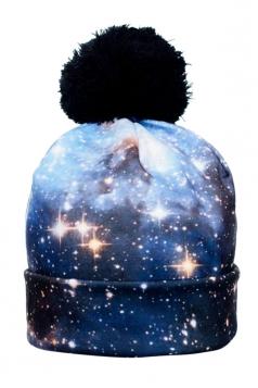 Womens Deep Space Printed Pom Beanie Blue
