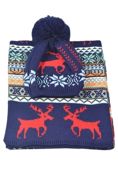 Womens Christmas Deer Fair Isle Knitting Scarf Pom Beanie Navy Blue