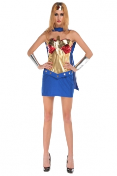 Womens Off Shoulder Sexy Superwomen Halloween Costume Blue