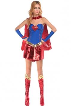 Womens Sexy Superwomen Off Shoulder Halloween Costume Blue