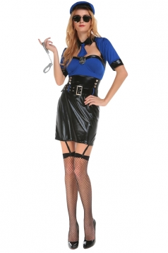 Womens Cool Sexy Adult Halloween Cop Costume Blue