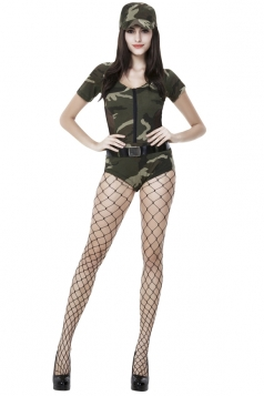 Womens Camouflage Sexy Halloween Cop Costume Green