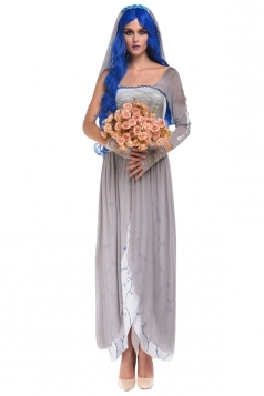 Womens One Shoulder Sexy Zombie Bride Halloween Costume Gray