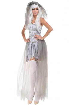 Womens Off Shoulder Sexy Halloween Zombie Bride Costume Gray