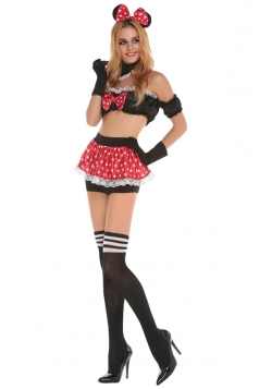Womens Off Shoulder Sexy Mickey Halloween Costume Red