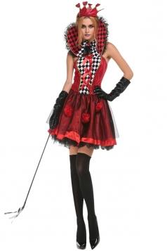 Womens Plaid Poker Sexy Halloween Costume Red