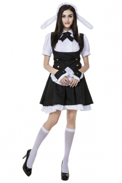 Womens Ruffle Cute Halloween Maid Costume Black